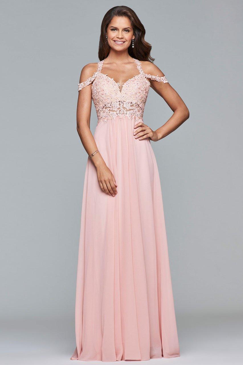 Faviana - 10006 Lace Appliqued Illusion Midriff Gown