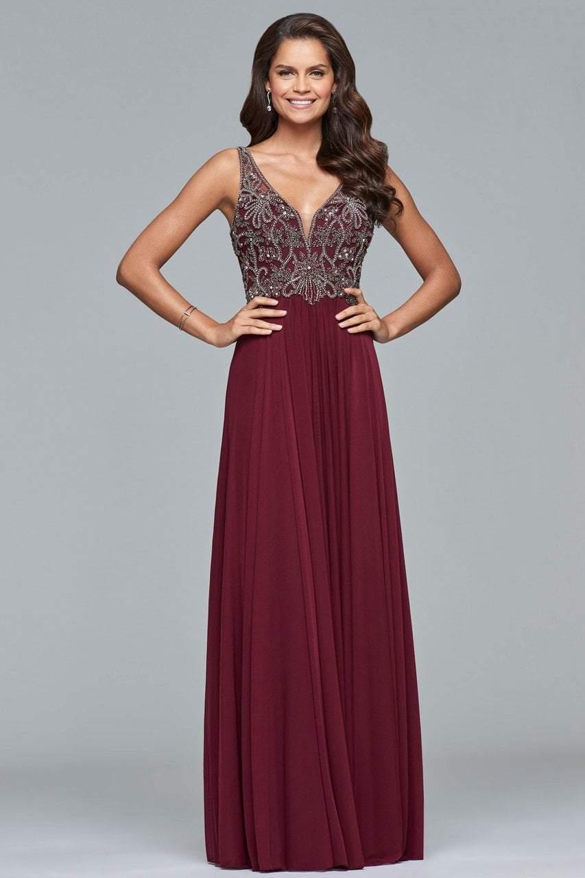 Faviana - 10017 Beaded V-neck A-line Dress