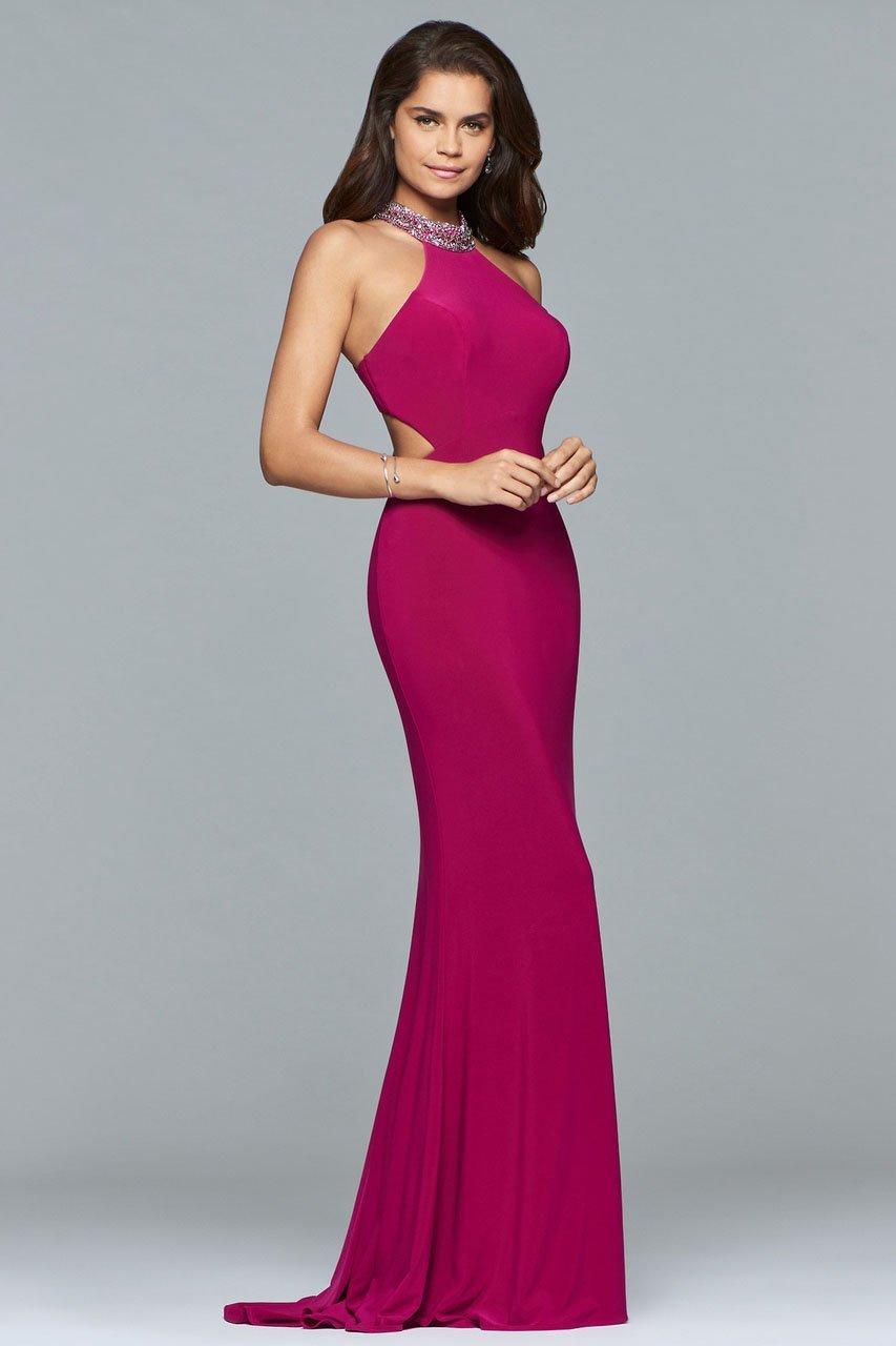 Faviana - 10038 Jewel Adorned Halter Cutout Gown