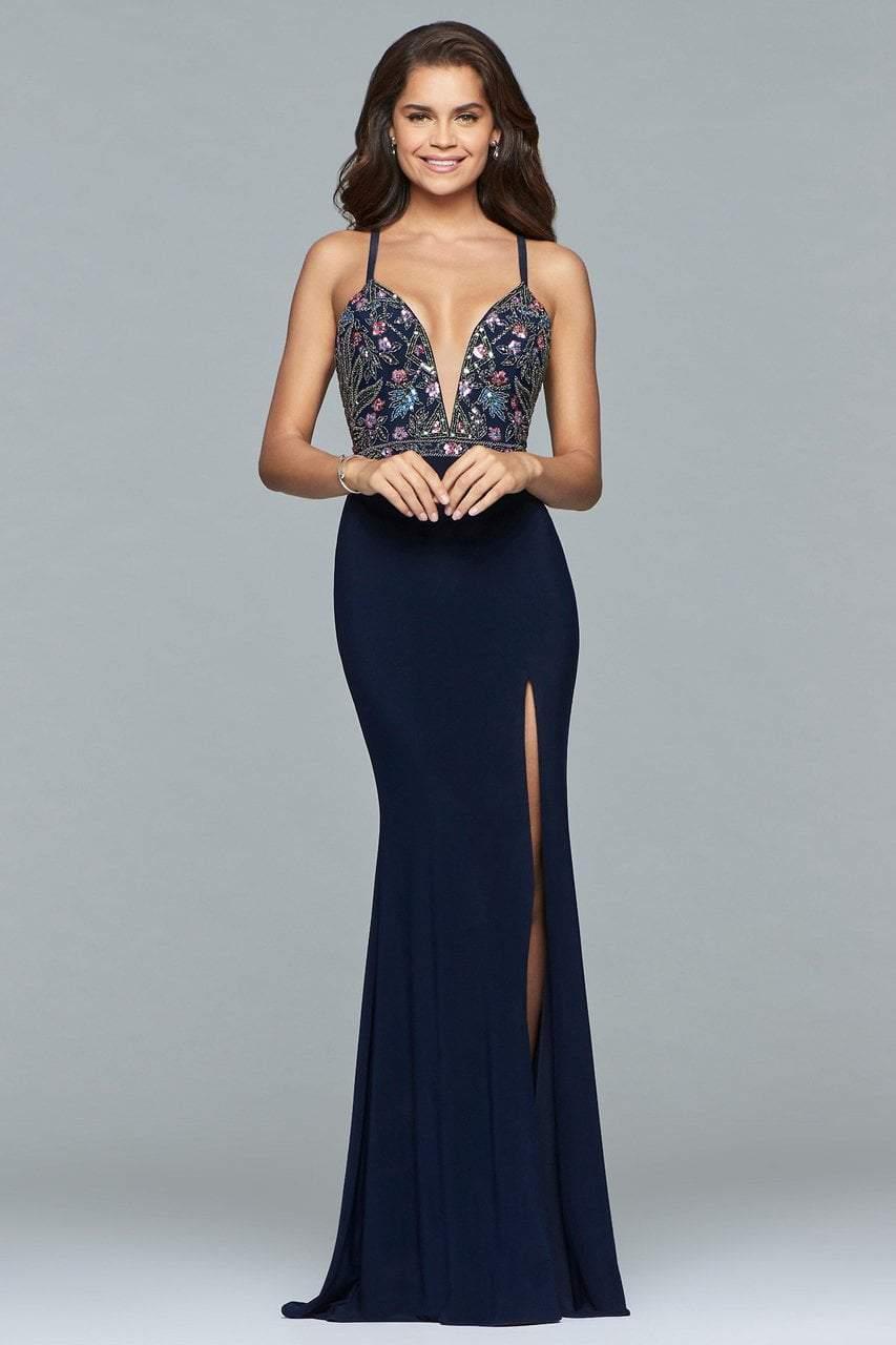 Faviana - 10067 Beaded Plunging V Neck Dress with Slit