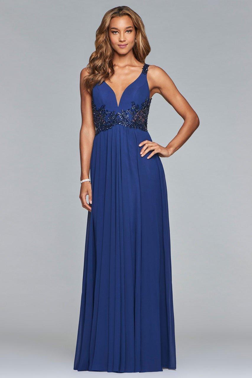 Faviana - 10102 Beaded Plunging V Neck Chiffon Dress