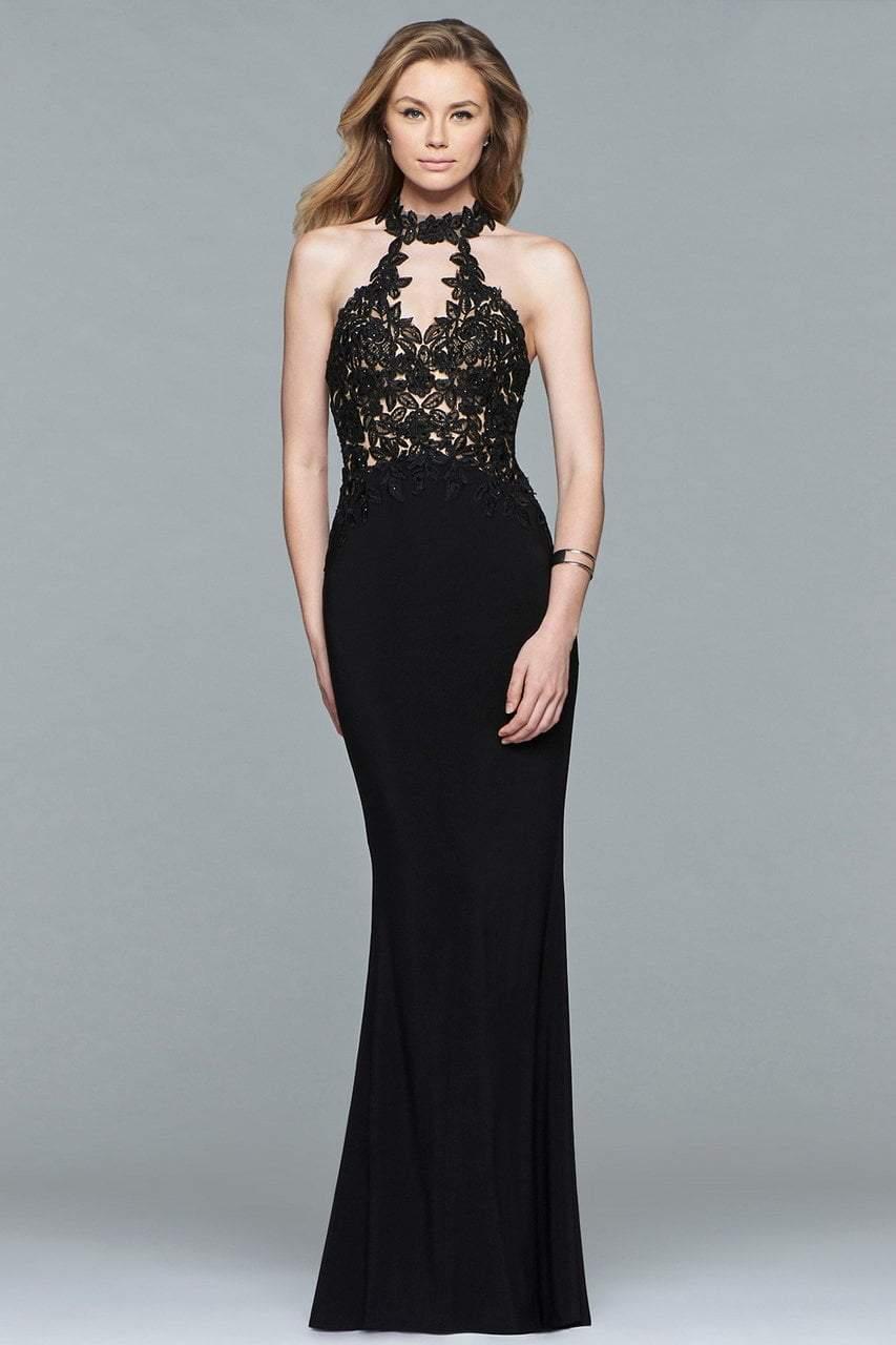 Faviana - 7750 High Halter Cutout Sheath Gown