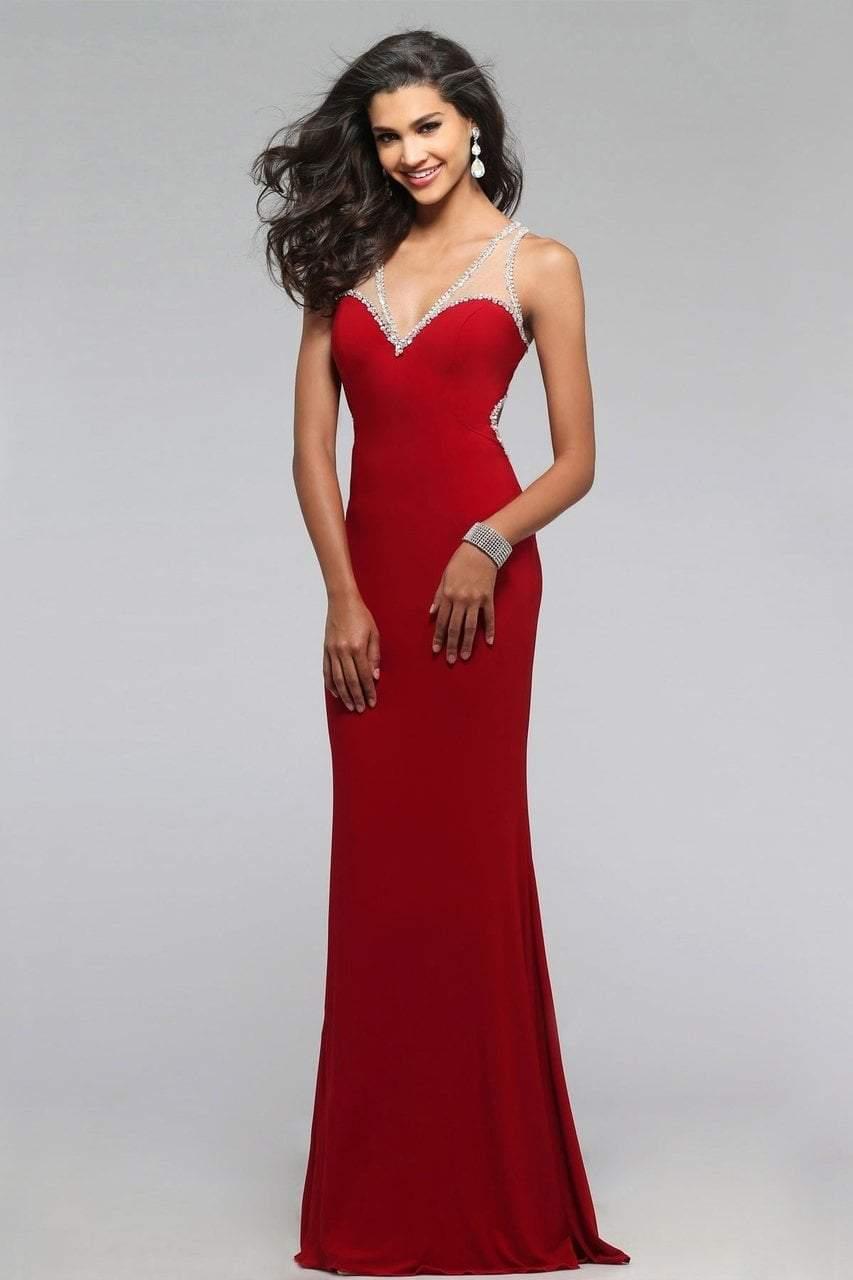 Faviana - 7764 Beaded Illusion V-neck Sheath Dress