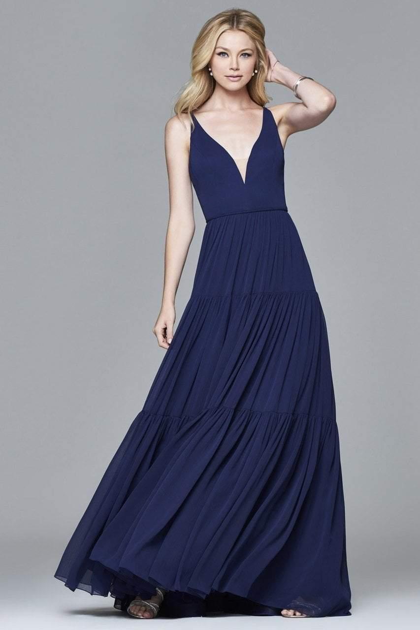 Faviana - 7923 Chiffon v-neck evening dress with full skirt