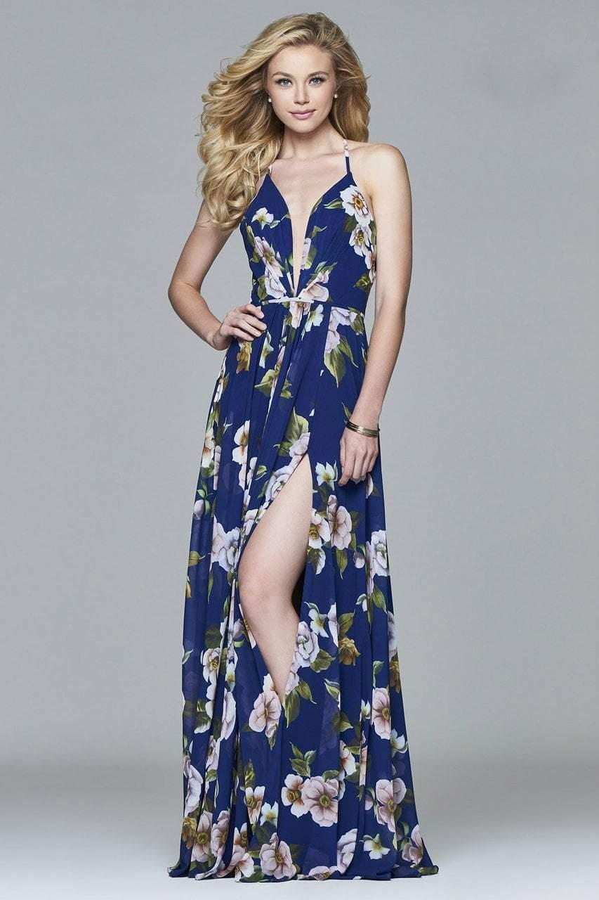 Faviana - 7946 Chiffon v-neck dress with full skirt and lace-up back