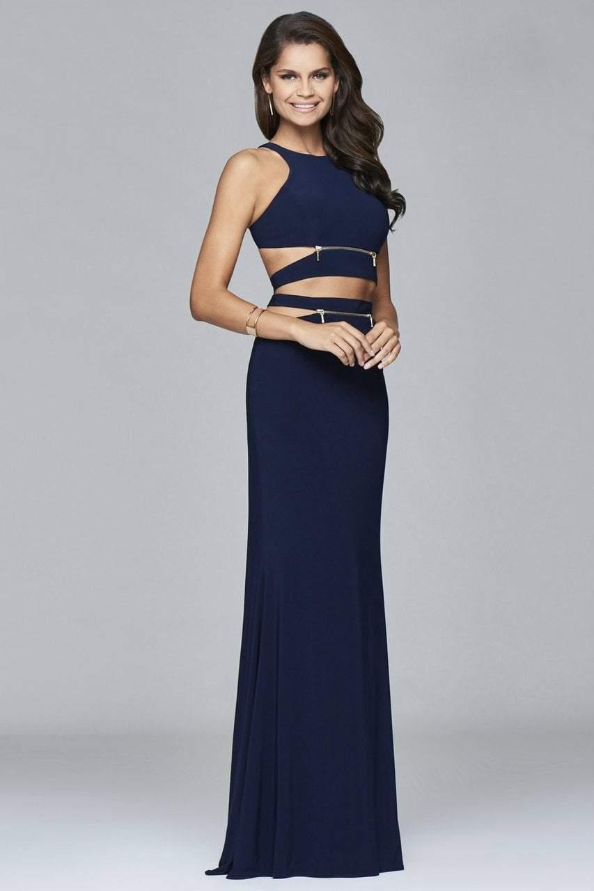 Faviana - 7957 Long jersey halter dress with zipper detail