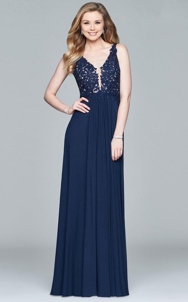 Faviana - 8000 Lace Appliqued Long Mesh V-Neck Dress