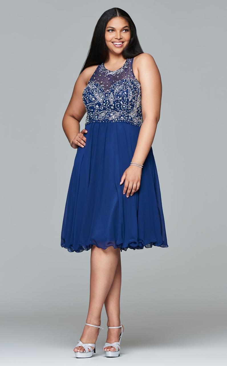 Faviana - 9410 Short chiffon dress with jeweled bodice