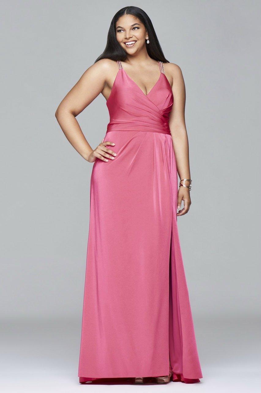 Faviana - 9414 Faile satin v-neck evening dress with draped front