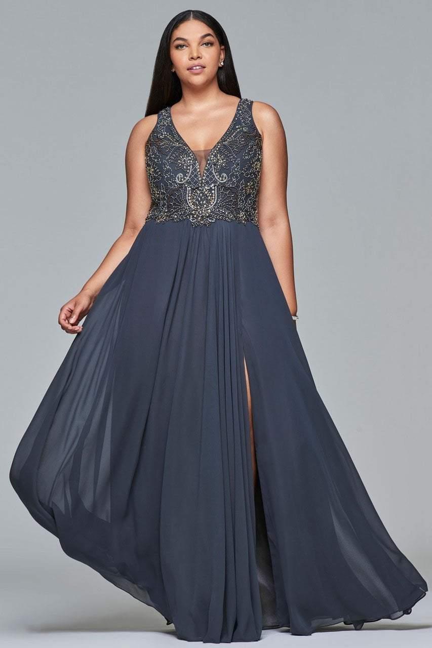 Faviana - 9420 Beaded Plunging V Neck A-Line Dress
