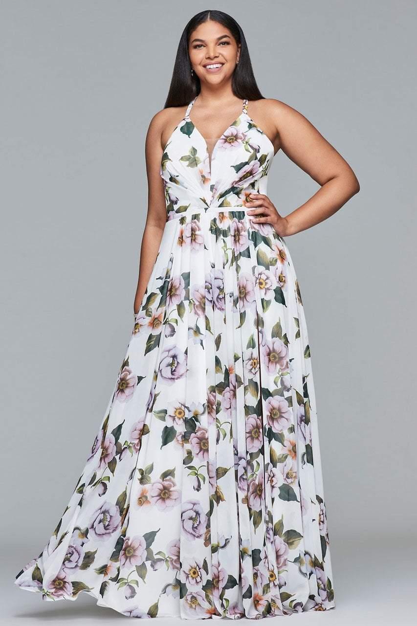 Faviana - 9431 Floral Print V-neck A-line Dress