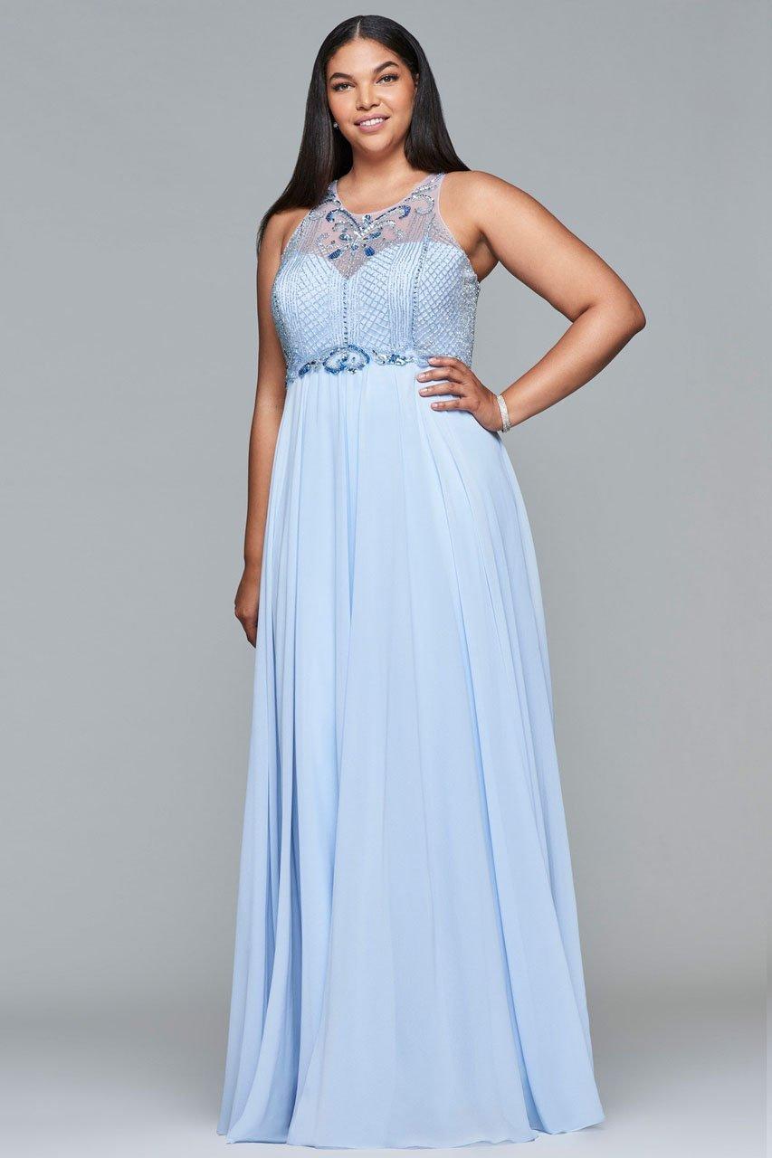 Faviana - 9436 Beaded Illusion Halter A-line Dress