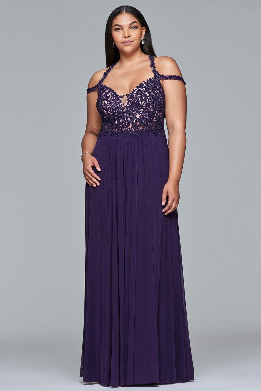 Faviana - 9439 Lace V-neck Sheath Dress