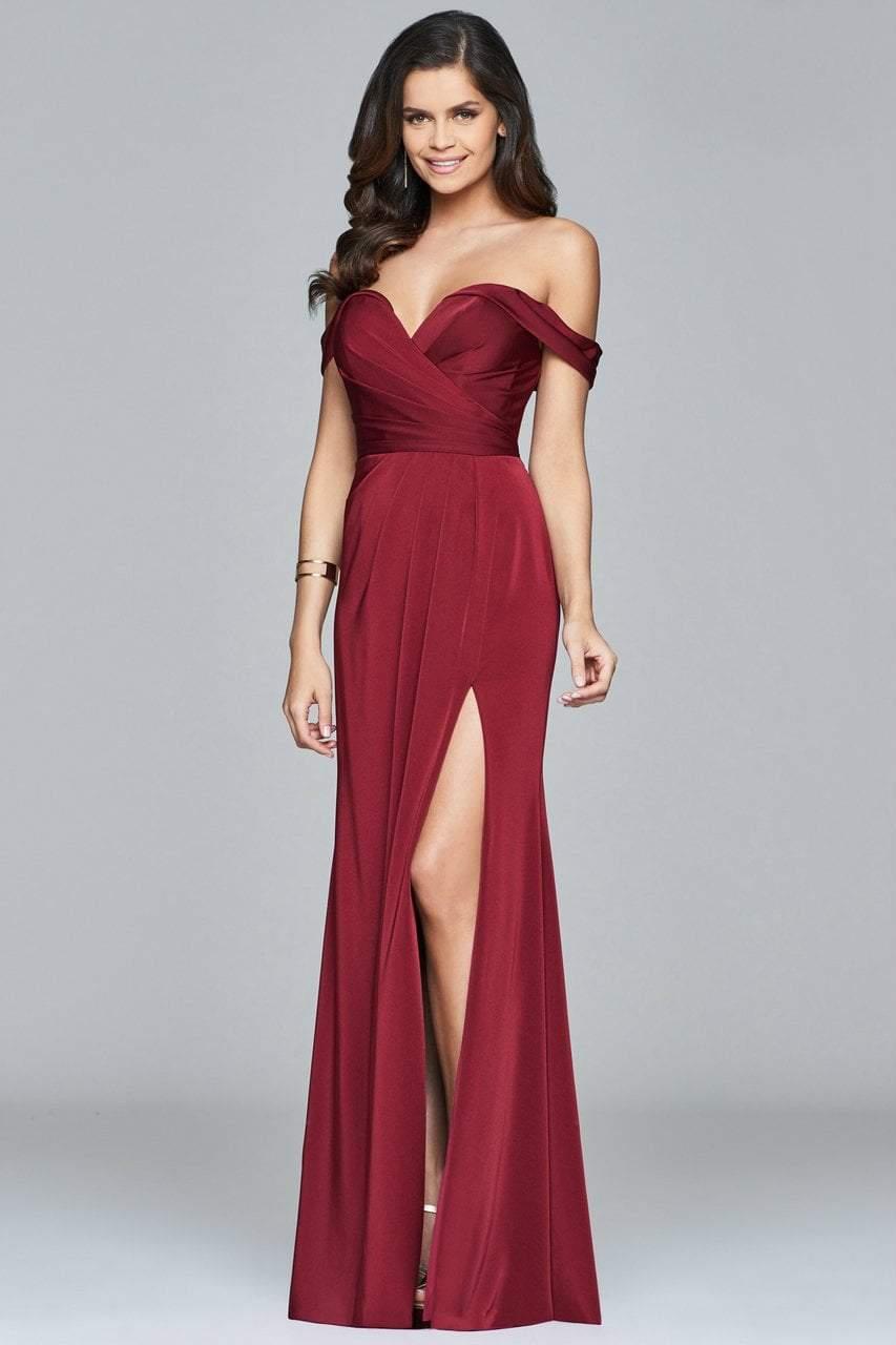 Faviana - Off-Shoulder Drape Gown 8083