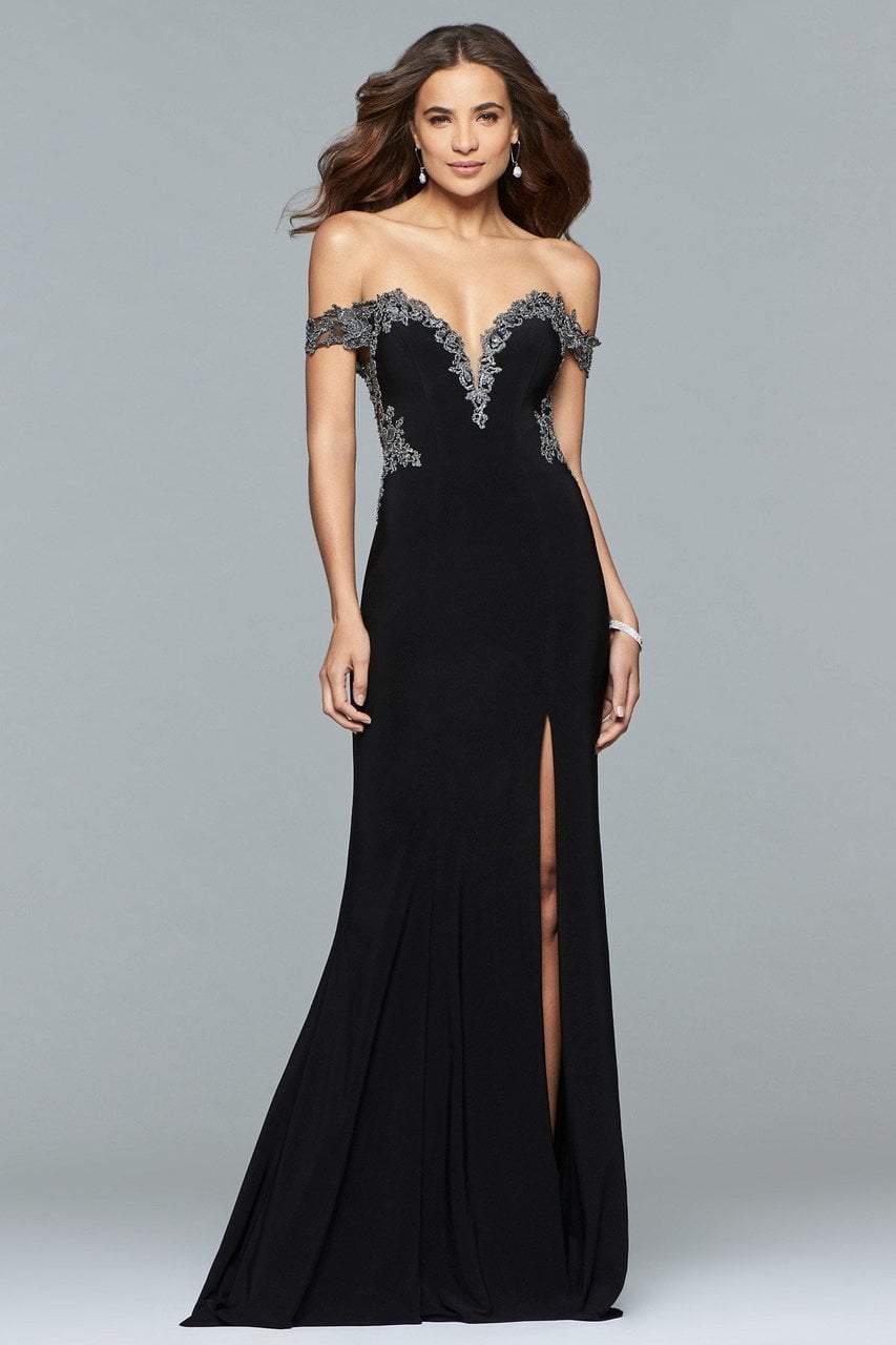 Faviana - s10001 Off-Shoulder Jersey Sheath Gown