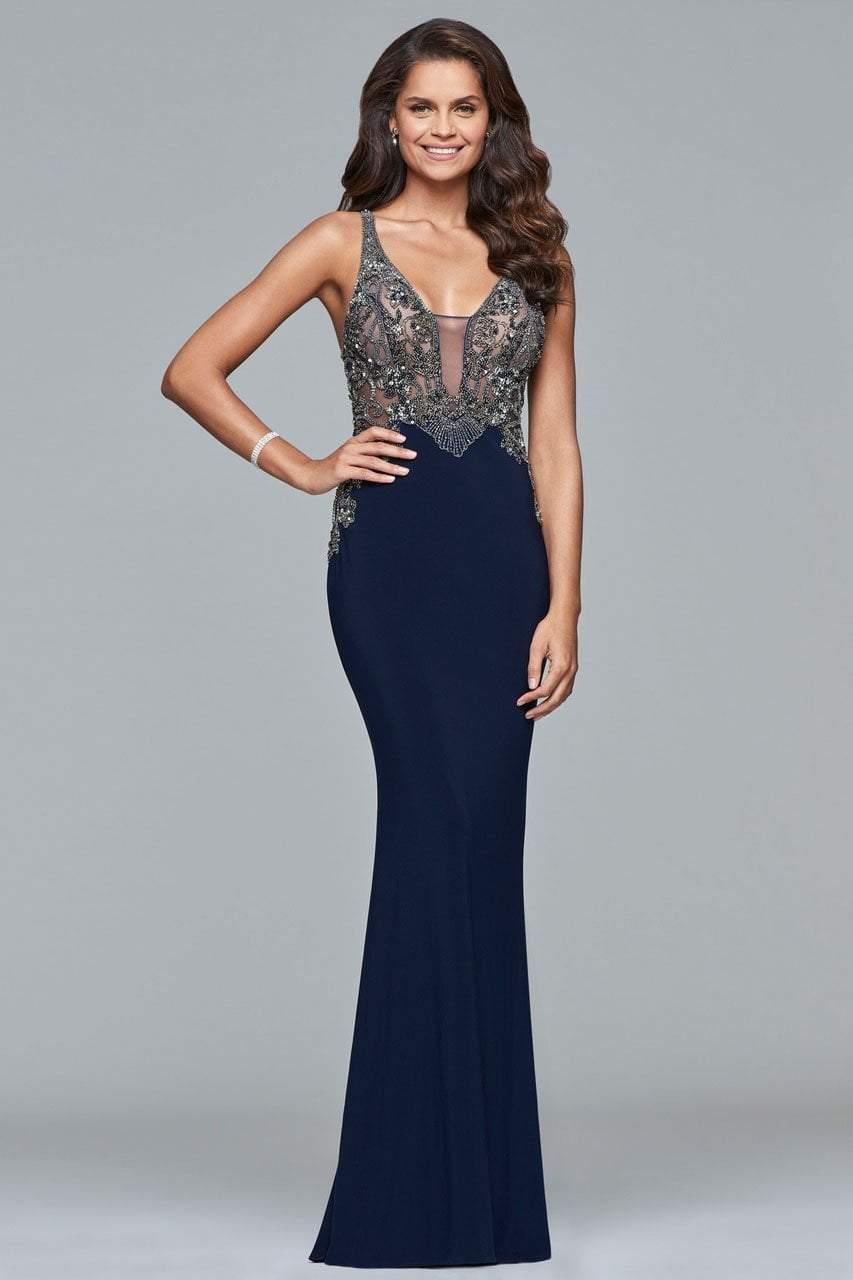 Faviana - s10002 Beaded Deep V-neck Sheath Dress