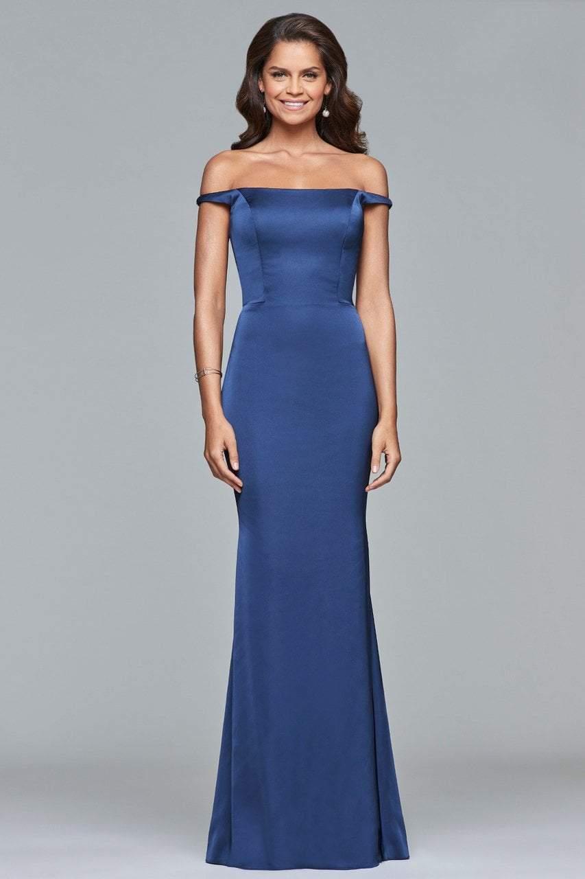 Faviana - s10010 Off-Shoulder Matte Satin Sheath Gown