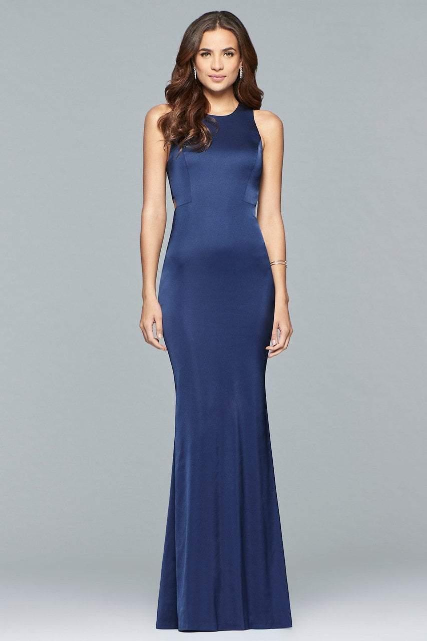 Faviana - s10011 Matte Satin Cutout Sheath Gown