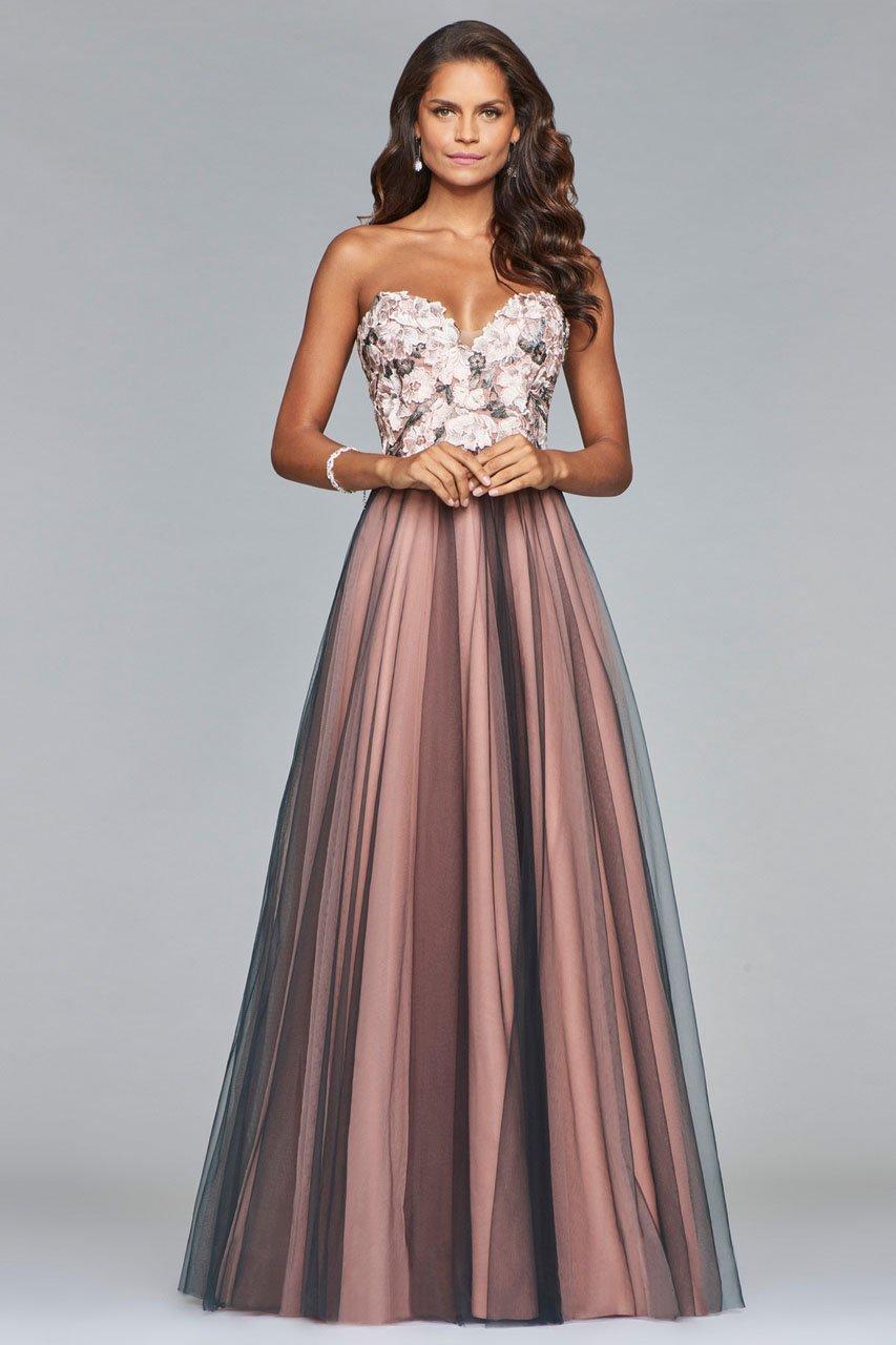 Faviana - s10023 Floral Applique Sweetheart A-line Dress