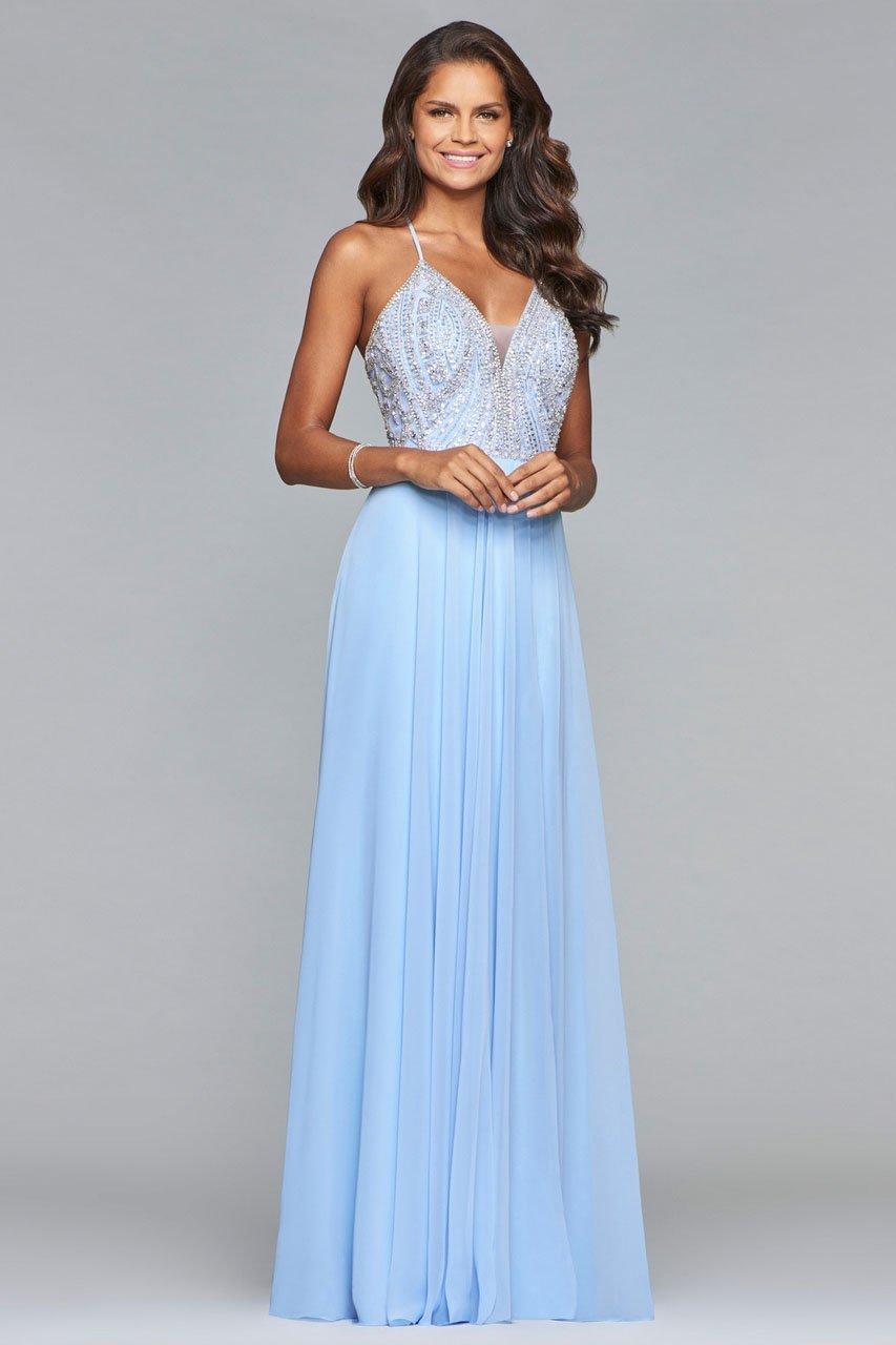 Faviana - s10041 Beaded Deep V-neck Chiffon Dress