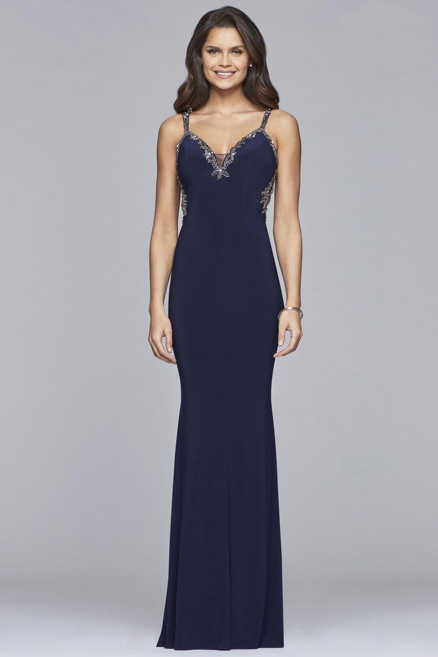 Faviana - S10107 Lace Beaded V-neck Jersey Sheath Dress