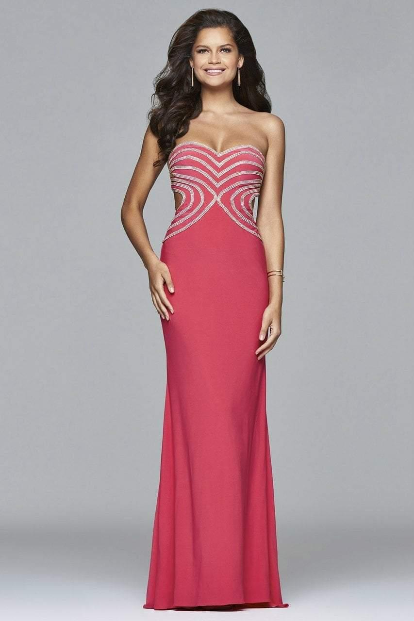Faviana - s7701 Jersey sweetheart evening dress with rhinestone details