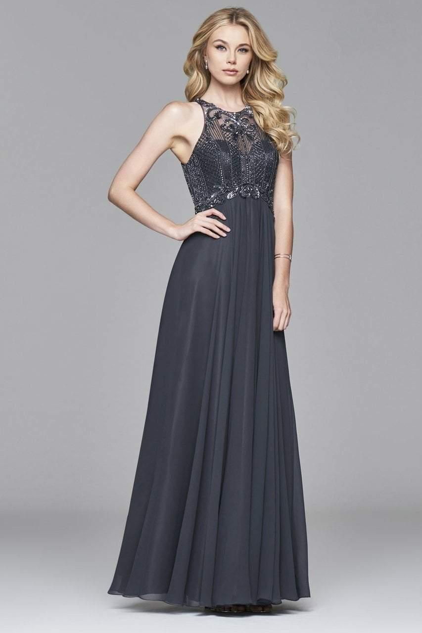 Faviana - s7989 Long chiffon dress with bead detailing