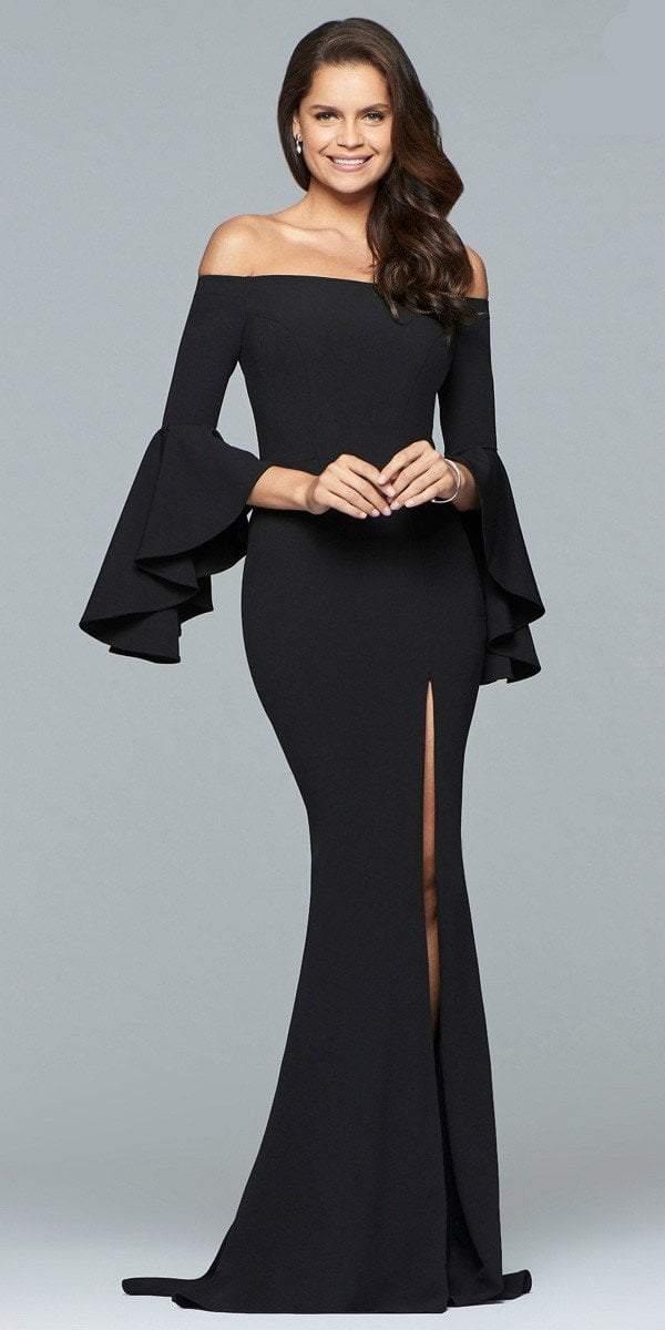 Faviana - s8002 Long off-the-shoulder crepe dress