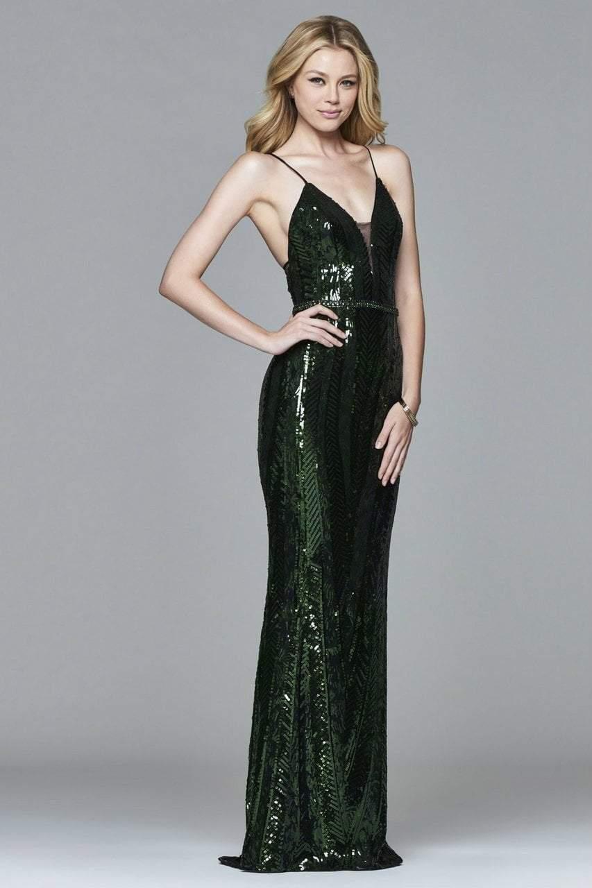 Faviana - s8011 Long novelty sequin v-neck dress