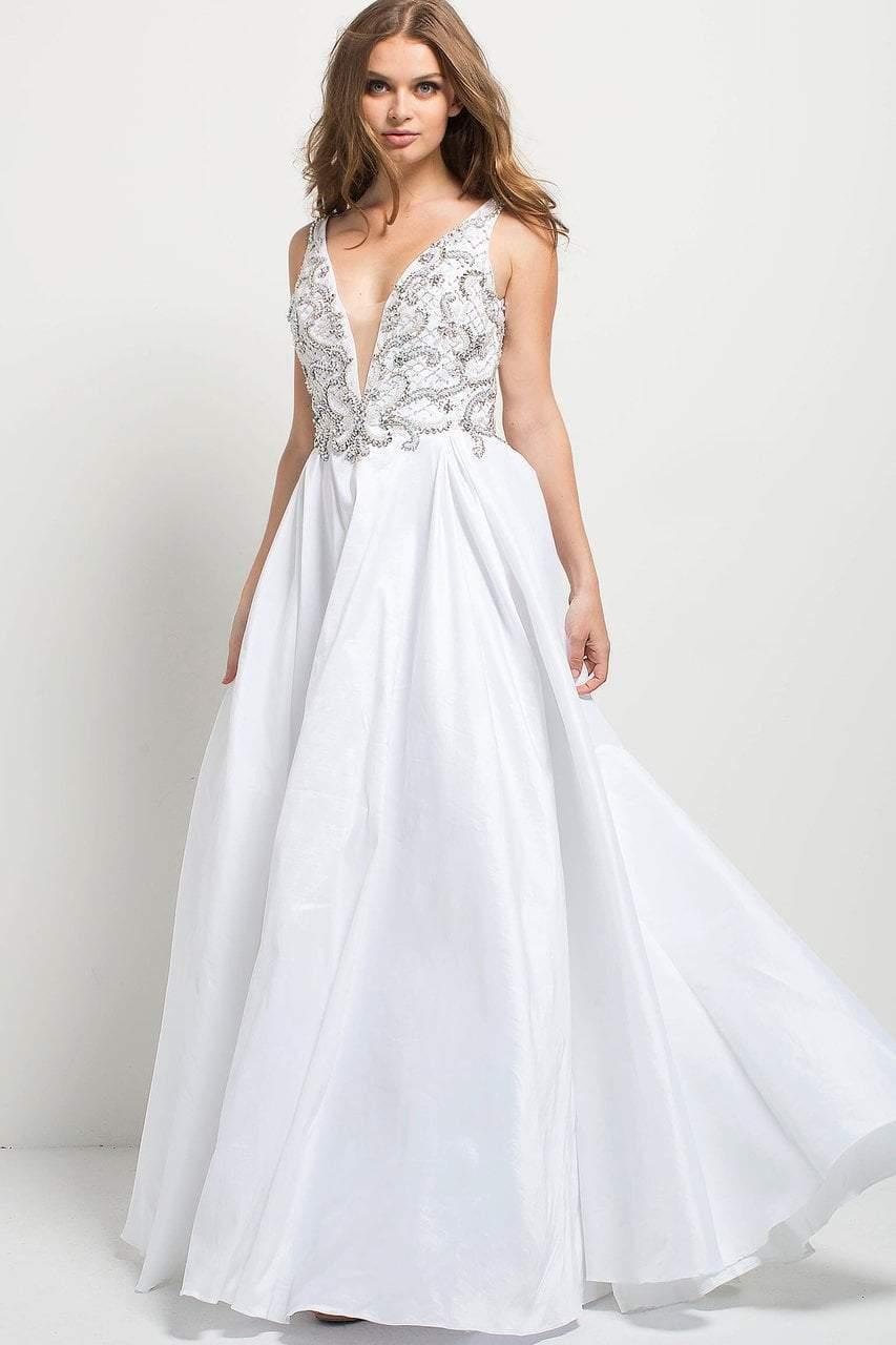 Jovani - 42402 Embellished V-neck A-line Dress