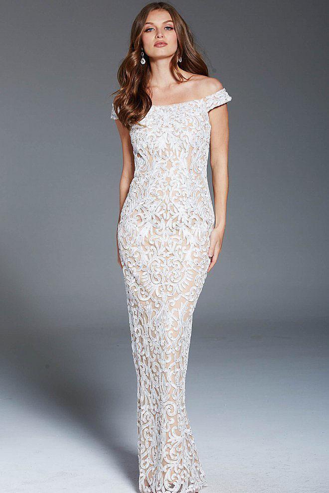 Jovani - 46775 Embellished Lace Off-Shoulder Sheath Dress