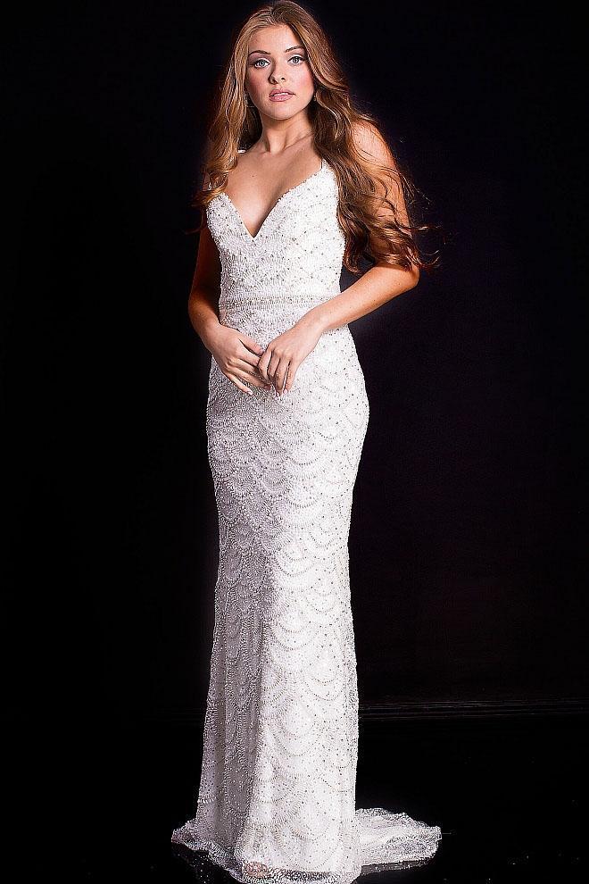 Jovani - 48297 Sleeveless Beaded Sweetheart Sheath Gown