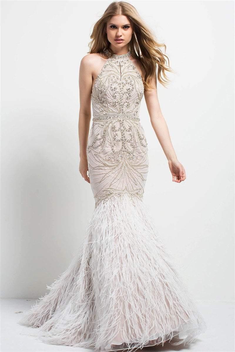 Jovani - 49416 Crystal Beaded Feathered Dress