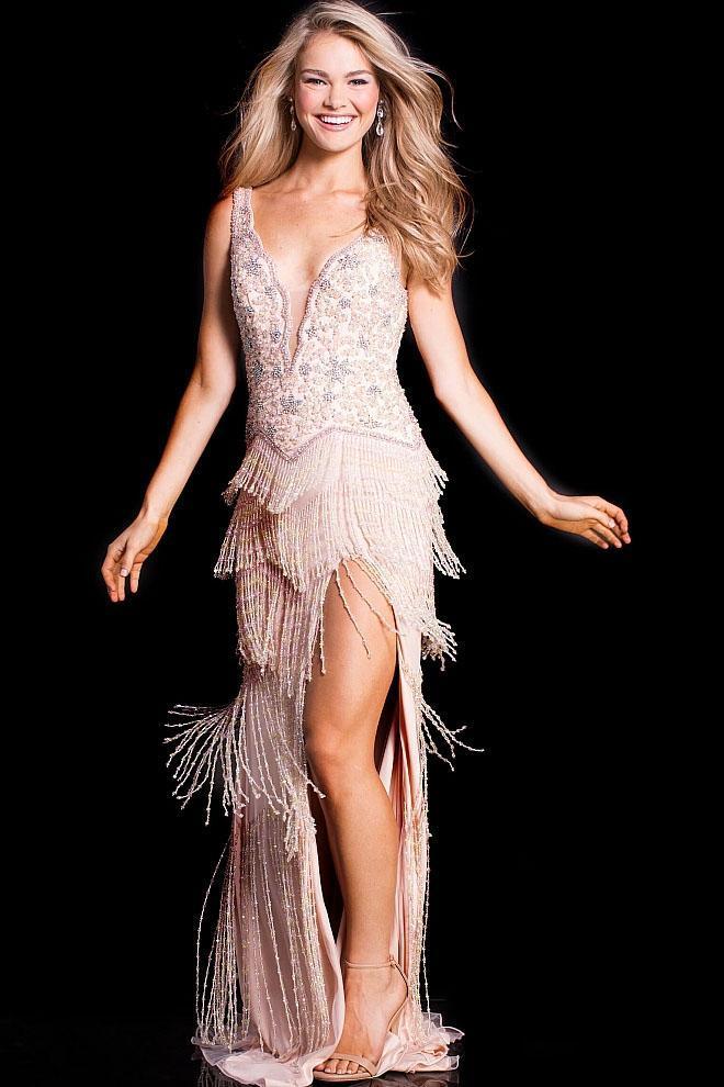 Jovani - 49833 Beaded V-Neck Fringe Evening Gown