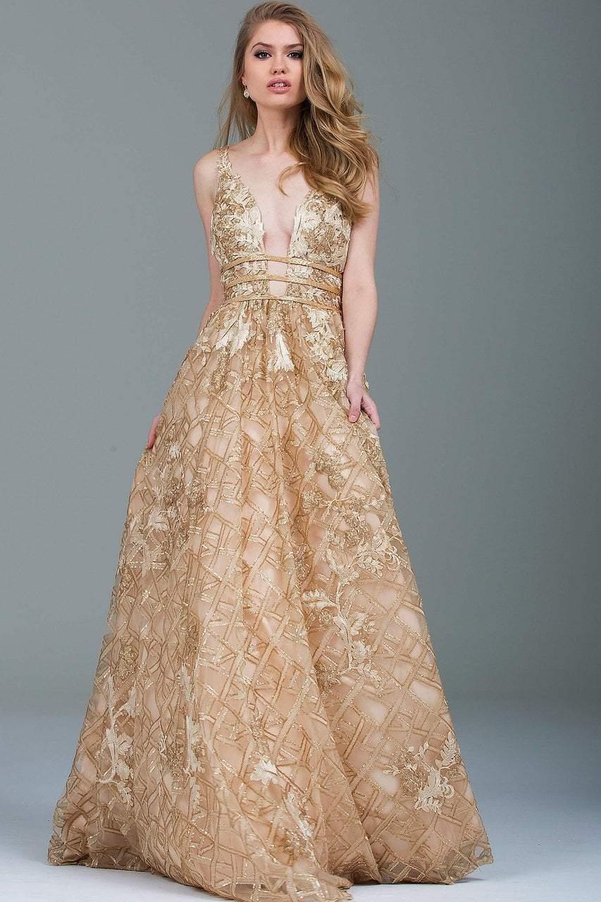 Jovani - 51165 Plunging Gold Embellished Evening Gown