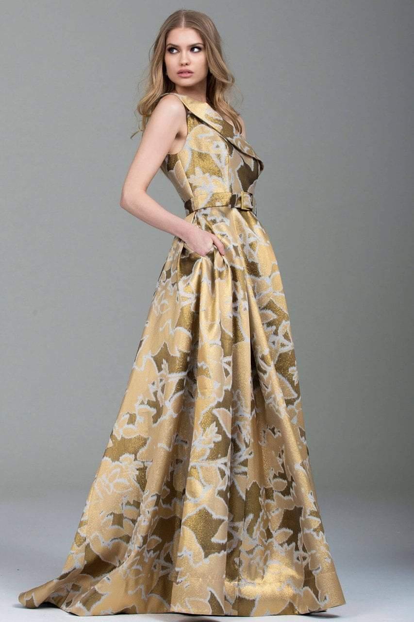 Jovani - 51244 One Shoulder Gold Print Ballgown