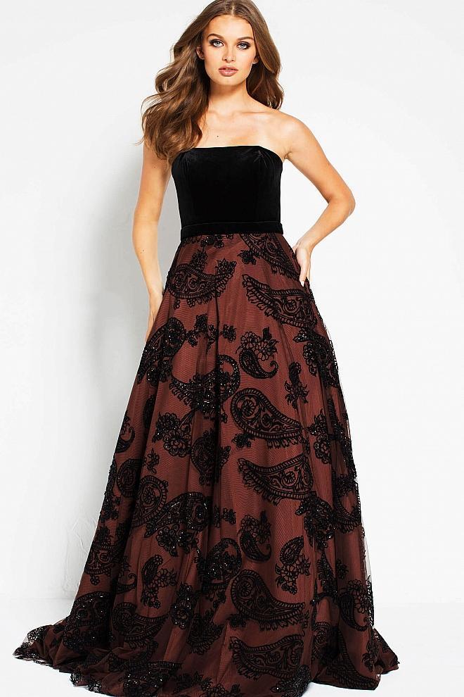 Jovani - 51815 Two Tone Velvet Embellished A-line Dress