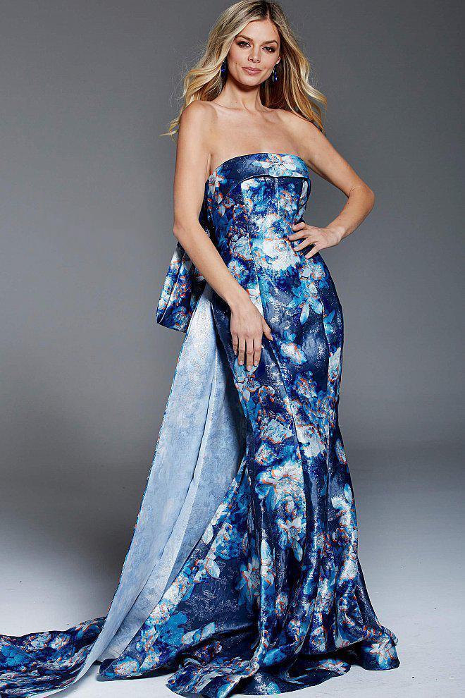 Jovani - 52223 Floral Printed Fold over Mermaid Dress