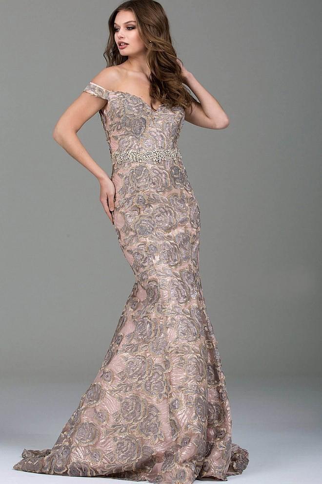 Jovani - 52274 Off the Shoulder Rosette Mermaid Gown