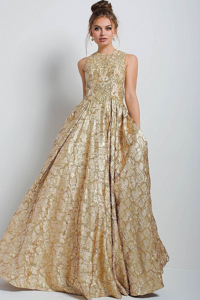 Jovani - 53213 Gold Embellished Sleeveless Evening Gown