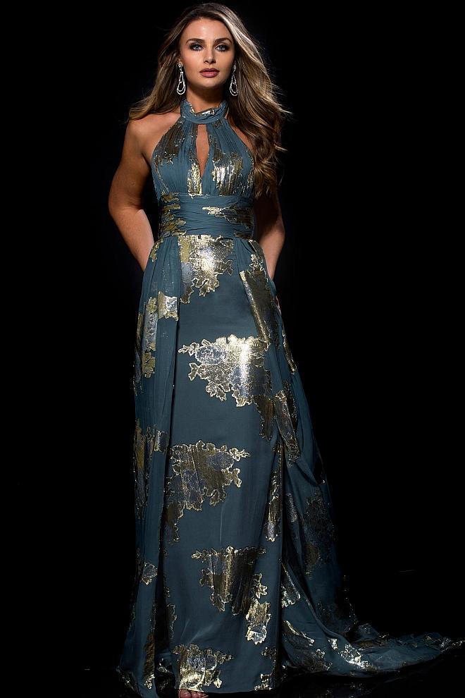 Jovani - 54852 Halter Neck Metallic Print Gown with Overskirt