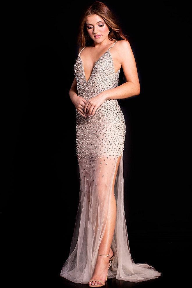 Jovani - 58559 Crystal Embellished V Neck Low Back Prom Dress