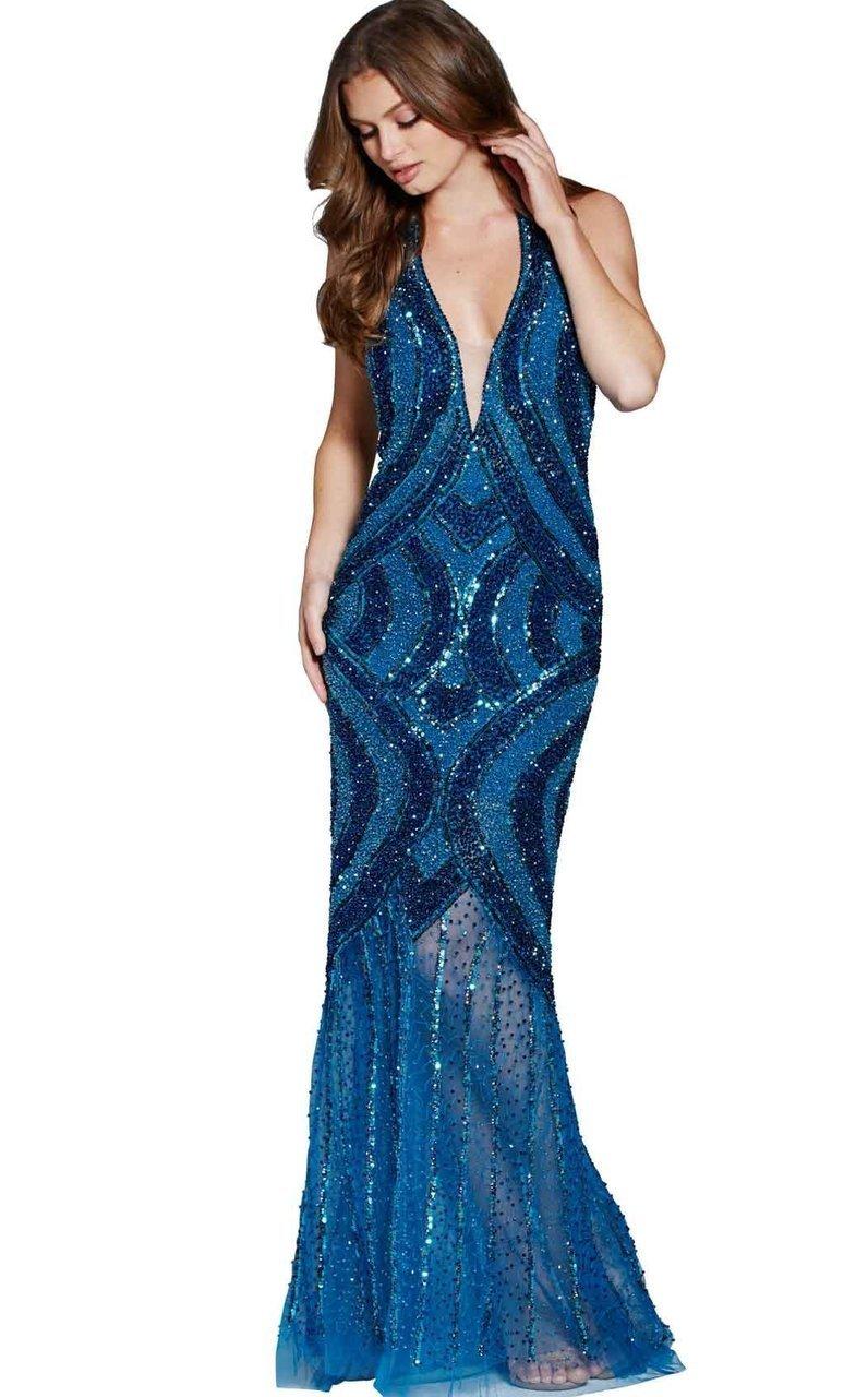 Jovani - 60254 Two Tone Beaded Deep V-neck Sheath Dress