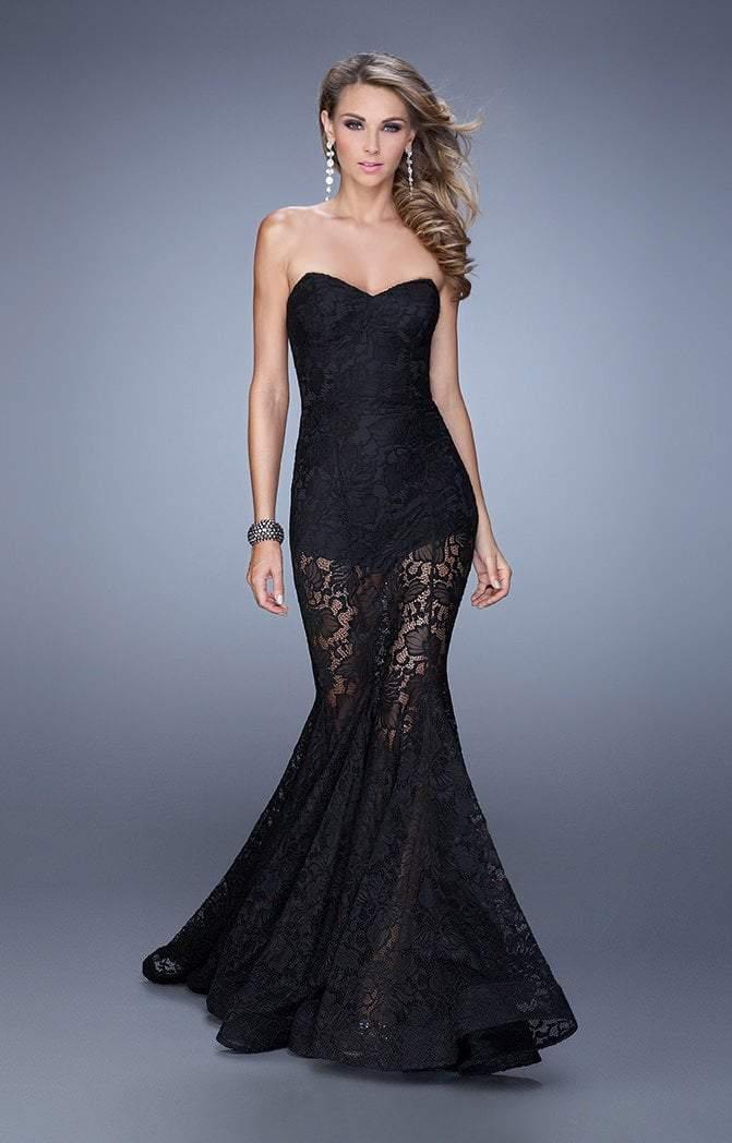 La Femme - 21428 Strapless Lace Mermaid Gown