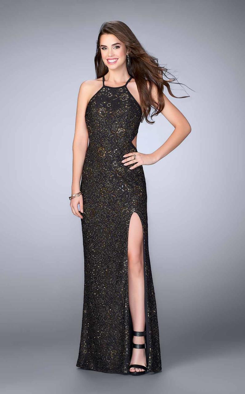 La Femme - 23774 Dazzling Floral Lace Halter Sheath Evening Gown