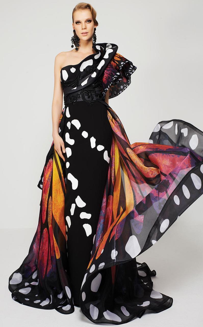 MNM Couture - 2381 Empress Elegance Asymmetrical Evening Gown