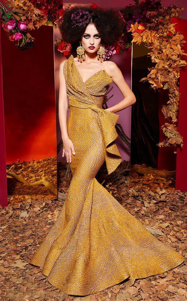 MNM Couture - 2425 Scale-like Asymmetric Mermaid Dress