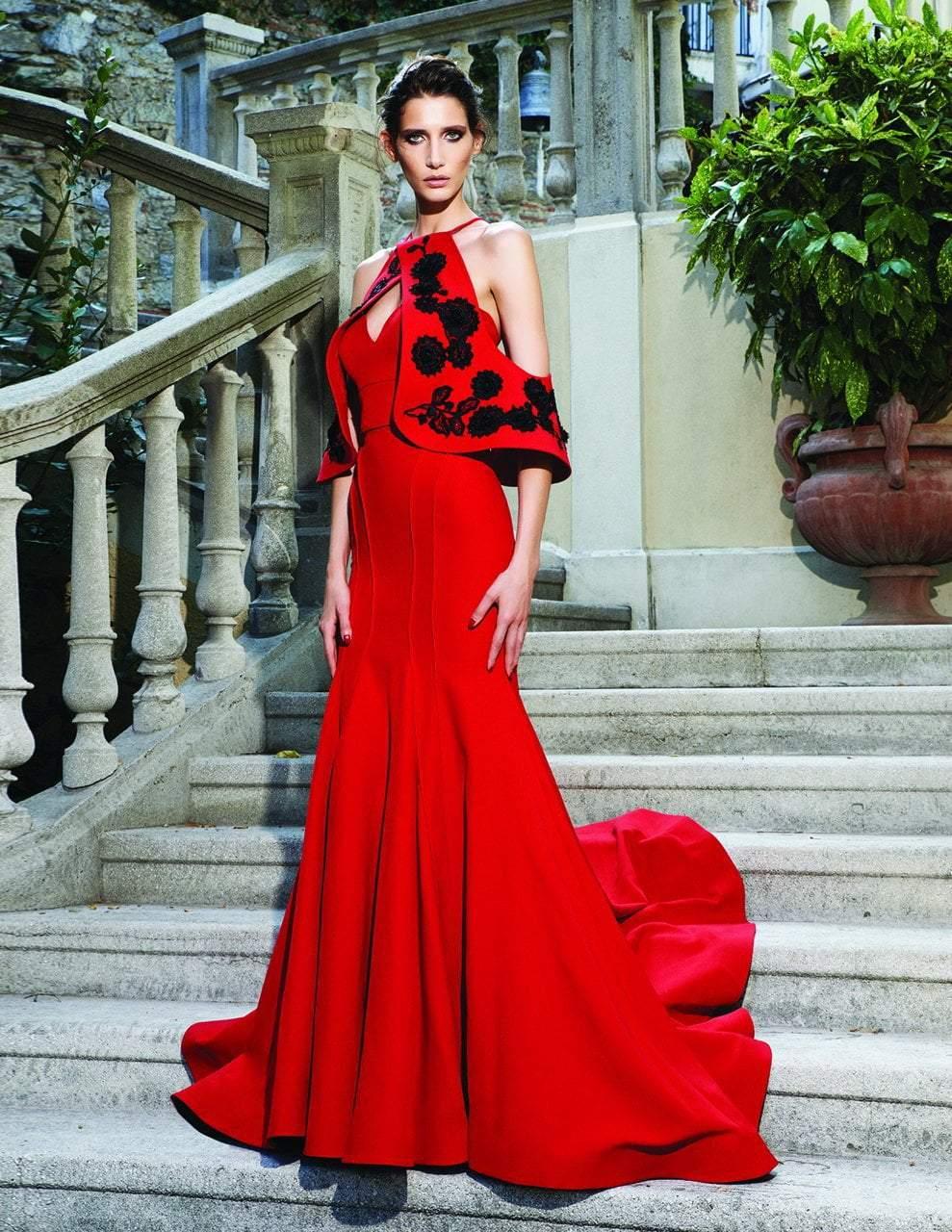 MNM Couture - Floral Embellished Trumpet Dress N0141