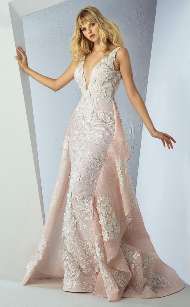 MNM Couture - G0861 Lace Deep V-neck Sheath Dress