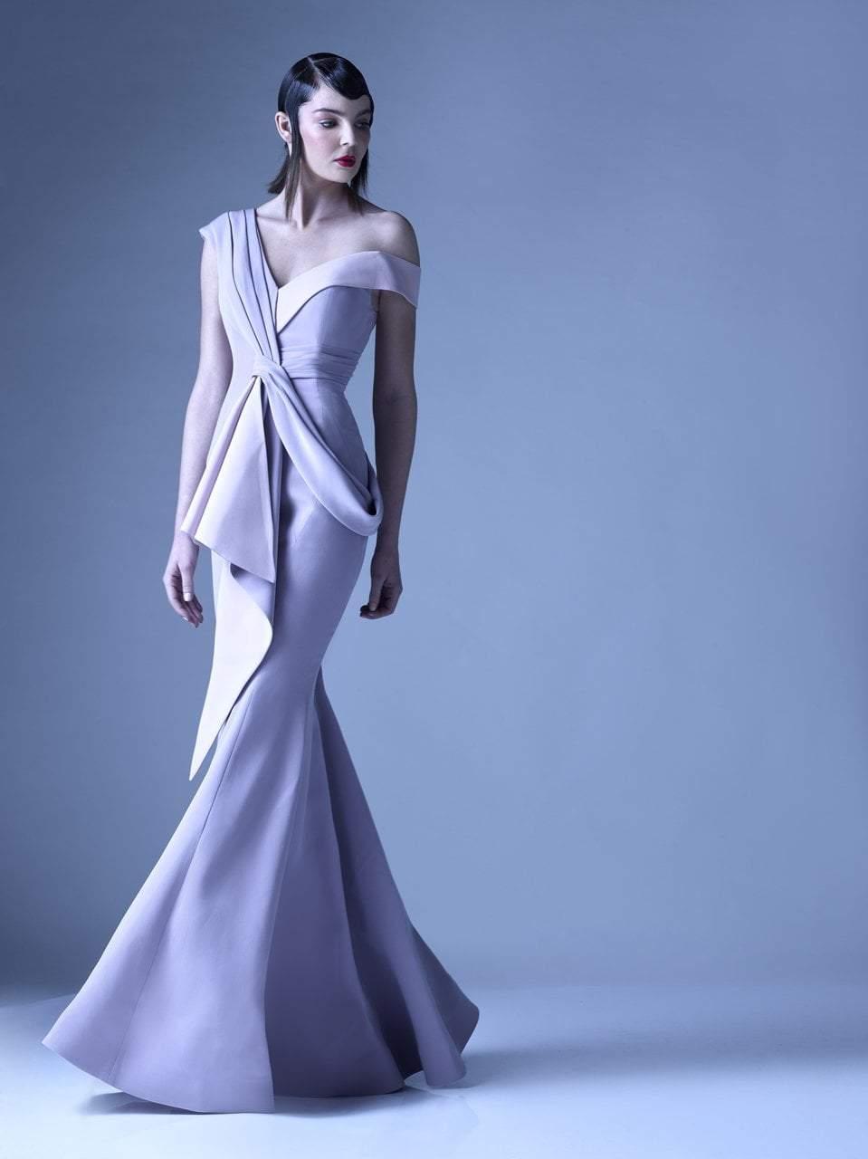 MNM Couture - G0947 Pleated Asymmetric Neck Trumpet Dress